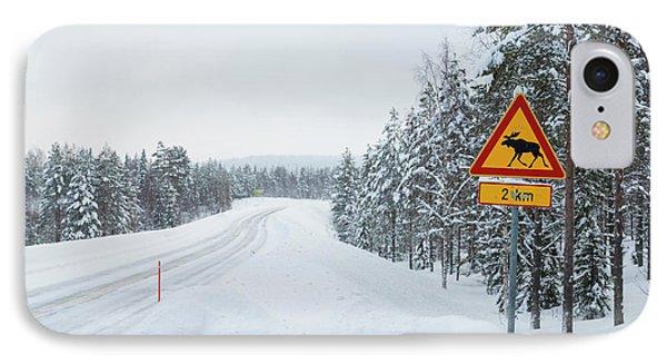 Moose Crossing Sign On Snowy Winter IPhone Case by Peter Adams