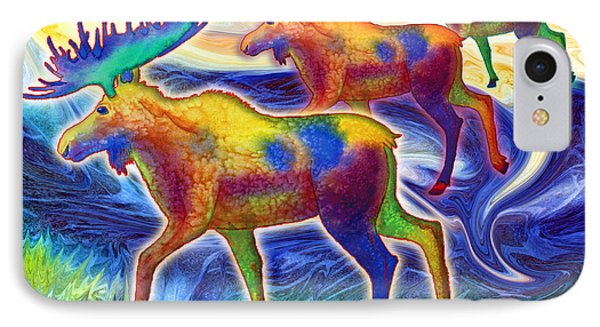 IPhone Case featuring the mixed media Moose Mystique by Teresa Ascone