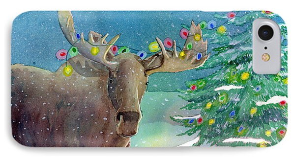 IPhone Case featuring the painting Moosey Christmas by LeAnne Sowa