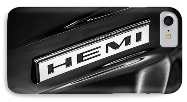Mopar Hemi Emblem Black And White Picture IPhone Case by Paul Velgos