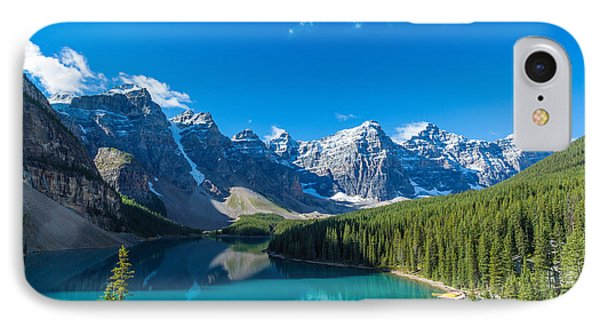 Moraine Lake At Banff National Park IPhone Case by Panoramic Images
