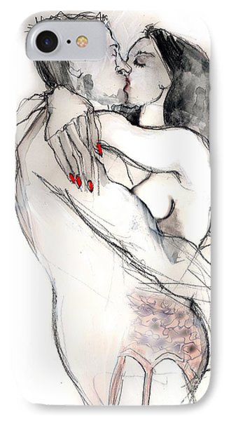 IPhone Case featuring the mixed media More Kissing - Nude Couple In Love  by Carolyn Weltman