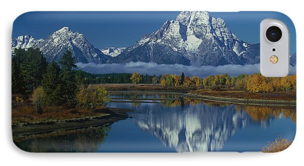 Morning Cloud Layer Oxbow Bend In Fall Grand Tetons National Park Wyoming IPhone Case by Dave Welling