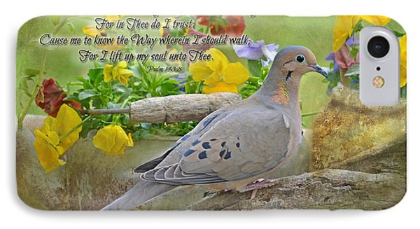 Morning Dove With Verse Phone Case by Debbie Portwood