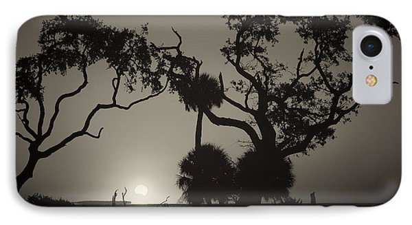 Morning Eclipse In Sepia IPhone Case by Phill Doherty