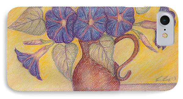 Morning Glories With Yellow Background Phone Case by Claudia Cox