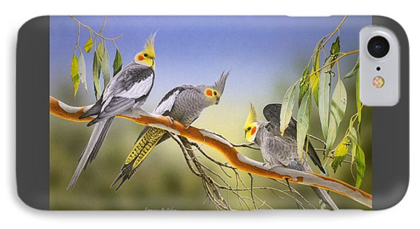Morning Light - Cockatiels IPhone Case by Frances McMahon