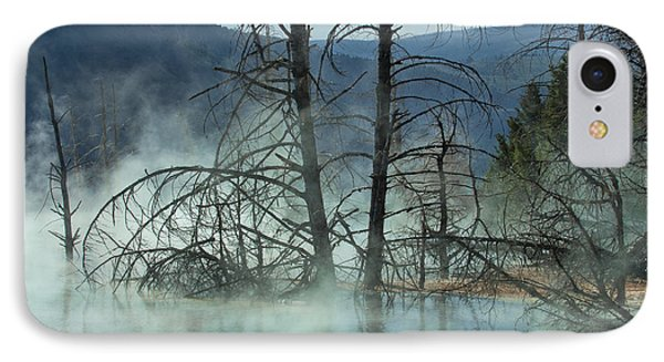 Morning Mist At Mammoth Hot Springs Phone Case by Sandra Bronstein