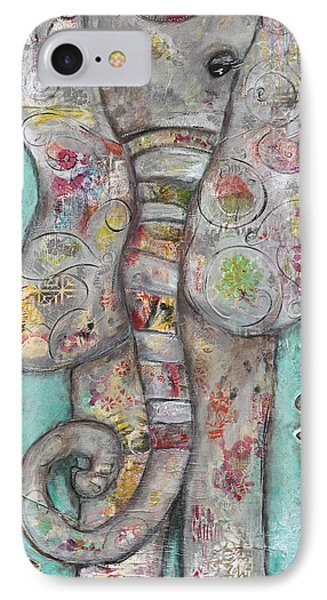 Mosaic Elephant IPhone Case by Kirsten Reed