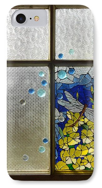 Mosaic Stained Glass - Dragonfly In The Window Phone Case by Catherine Van Der Woerd