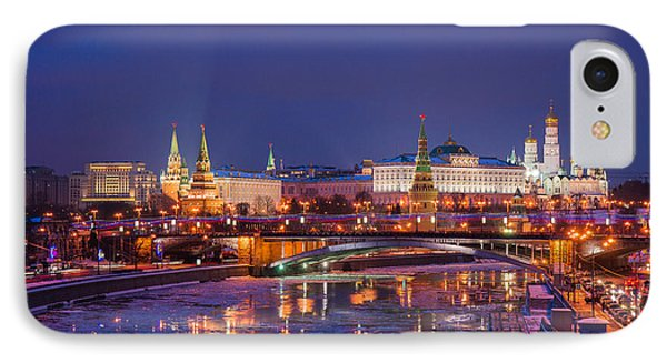Moscow Kremlin And Big Stone Bridge At Winter Night - Featured 3 Phone Case by Alexander Senin
