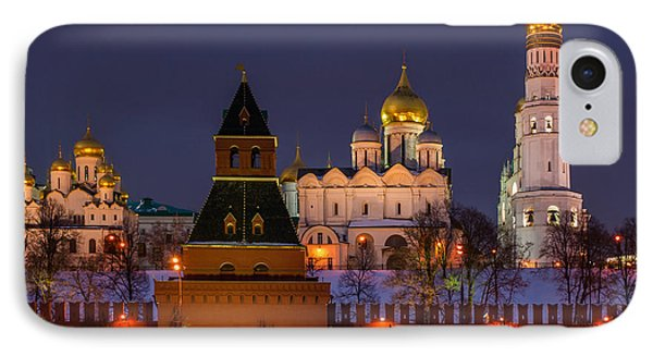 Moscow Kremlin Cathedrals At Night - Square Phone Case by Alexander Senin