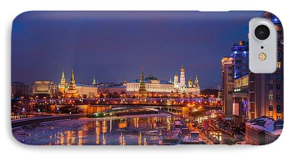 Moscow Kremlin Illuminated Phone Case by Alexander Senin