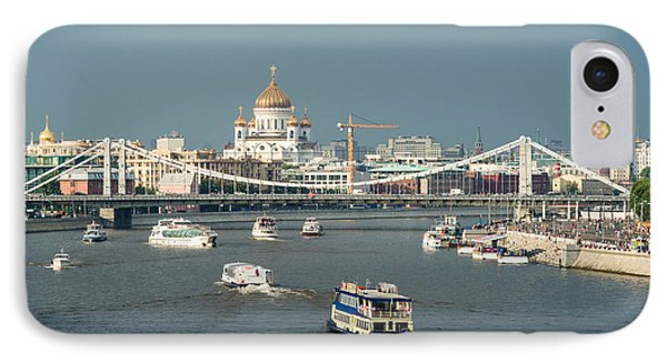 Moscow-river Traffic In Summertime - Featured 3 Phone Case by Alexander Senin