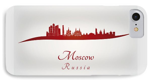 Moscow Skyline In Red IPhone 7 Case by Pablo Romero
