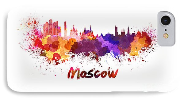Moscow Skyline In Watercolor IPhone 7 Case by Pablo Romero
