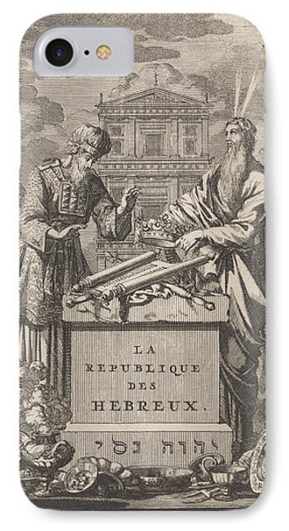 Moses And Aaron Standing Behind An Altar IPhone Case by Jan Luyken And Pieter Mortier