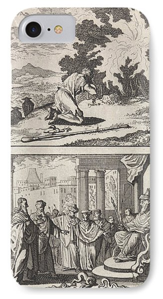 Moses At The Burning Bush, Moses And Aaron IPhone Case by Caspar Luyken And Barent Visscher And Andries Van Damme