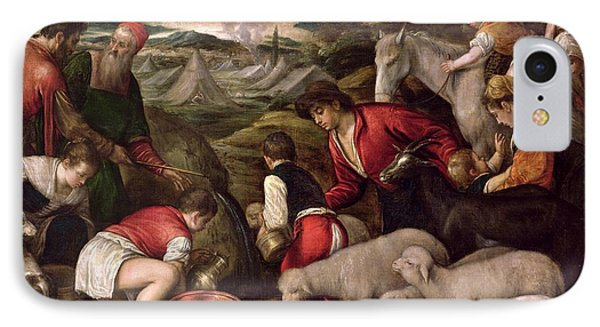 Moses Striking Water From The Rock Oil On Panel IPhone Case by Jacopo Bassano