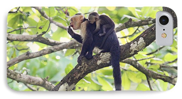 IPhone Case featuring the photograph Mother And Baby Capuchin Monkeys by Peggy Collins