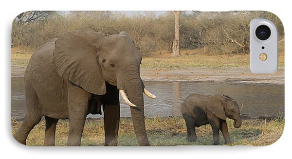 Mother And Baby Elephant Along River IPhone Case