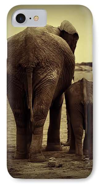 Mother And Baby Elephant In Black And White IPhone Case