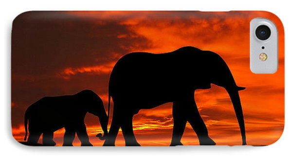 Mother And Baby Elephants Sunset Silhouette Series IPhone Case by David Dehner