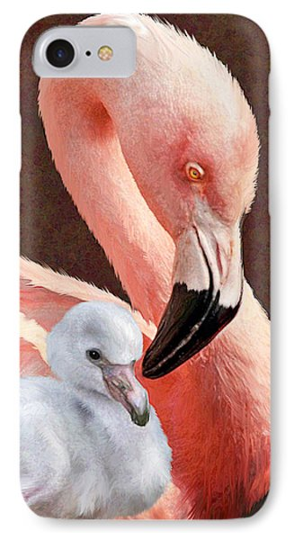 Mother And Baby Flamingo Phone Case by Jane Schnetlage