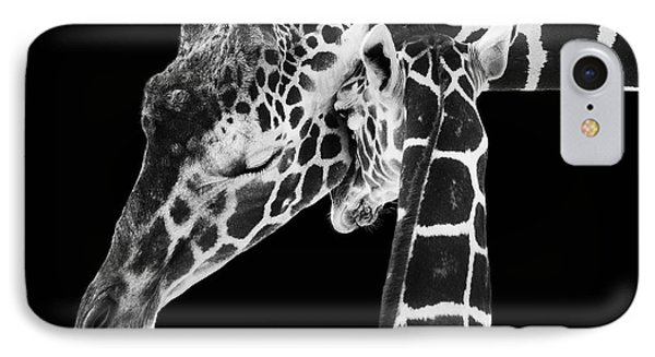 Mother And Baby Giraffe IPhone Case by Adam Romanowicz