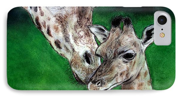 Mother And Baby Giraffe IPhone Case by Jim Fitzpatrick