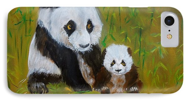 IPhone Case featuring the painting Mother And Baby Panda by Jenny Lee
