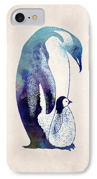 Mother And Baby Penguin IPhone 7 Case by World Art Prints And Designs