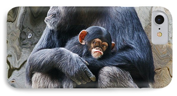 Mother And Child Chimpanzee 2 IPhone Case by Daniele Smith