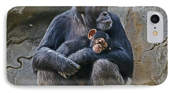 Mother And Child Chimpanzee IPhone Case by Daniele Smith