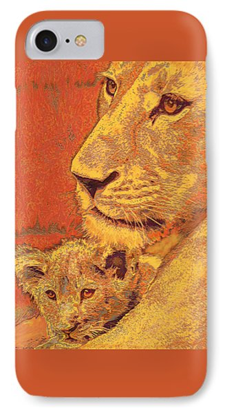 Mother And Cub IPhone Case by Jane Schnetlage