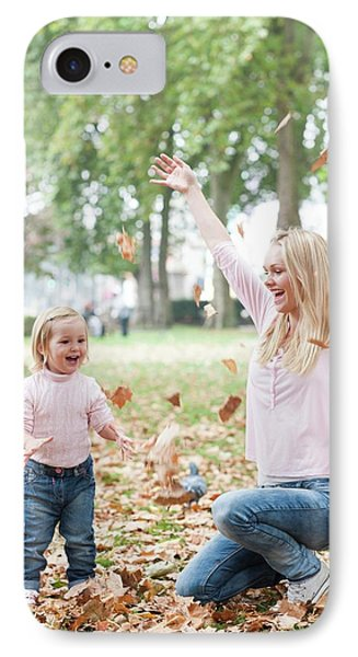 Mother And Daughter Playing With Leaves IPhone Case