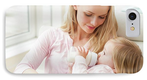 Mother And Daughter With A Bottle IPhone Case by Ian Hooton