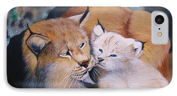 Mother And Kitten Bobcat IPhone Case by Jean Yves Crispo