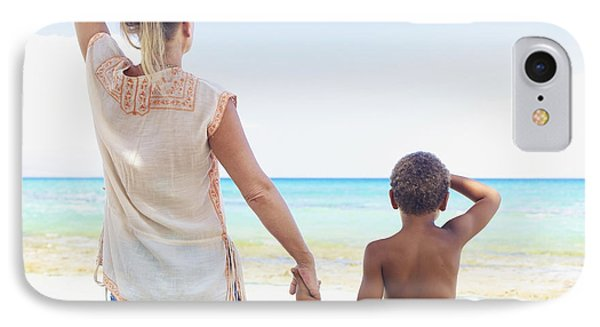Mother And Son At Beach Phone Case by Kicka Witte