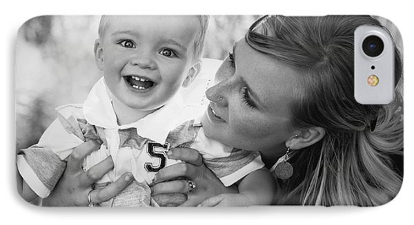 Mother And Son Laughing Together Phone Case by Daniel Sicolo