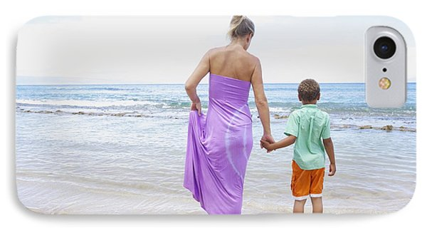 Mother And Son On Beach Phone Case by Kicka Witte