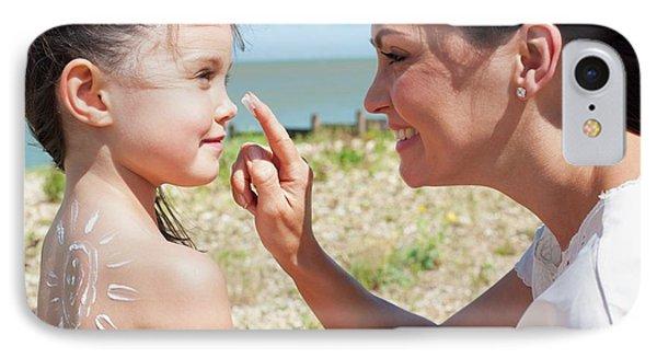 Mother Applying Suncream To Daughter IPhone Case