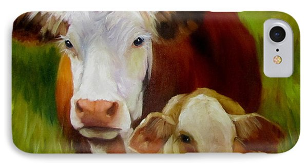 IPhone Case featuring the painting Mother Cow And Baby Calf by Cheri Wollenberg