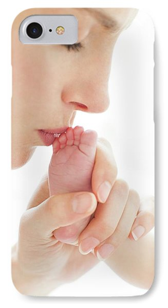 Mother Kissing Newborn's Foot IPhone Case by Ian Hooton