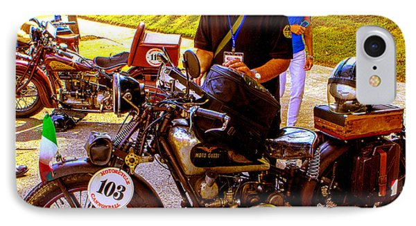 Moto Guzzi At Cannonball Motorcycle IPhone Case by Jeff Kurtz