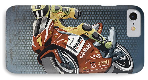 Motorbike Racing Grunge Color IPhone Case by Frank Ramspott
