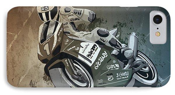 Motorbike Racing Grunge Monochrome IPhone Case by Frank Ramspott