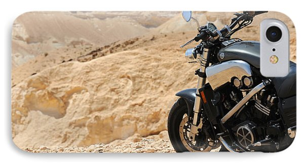 Motorcycle In A Desert IPhone Case