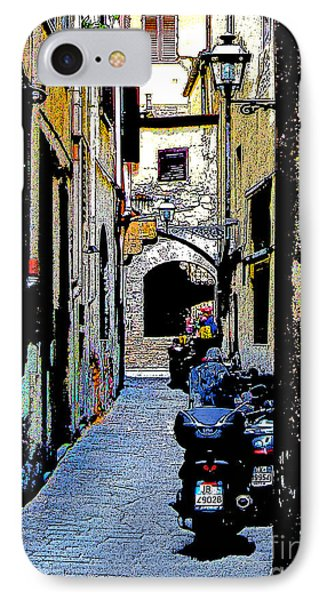 IPhone Case featuring the digital art Motorcyle In Florence Alley by Jennie Breeze