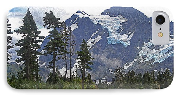 Mount Baker And Fir Trees And Glaciers And Fog IPhone Case by Tom Janca
